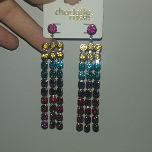 ❤ rainbow jewel dangle earrings
